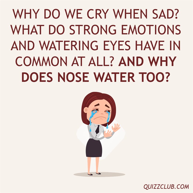 Culture Story: Why do we cry when sad? What do strong emotions and watering eyes have in common at all? And why does nose water too?