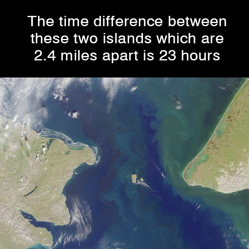 Geography Story: The time difference between these two islands which are 2.4 miles apart is 23 hours