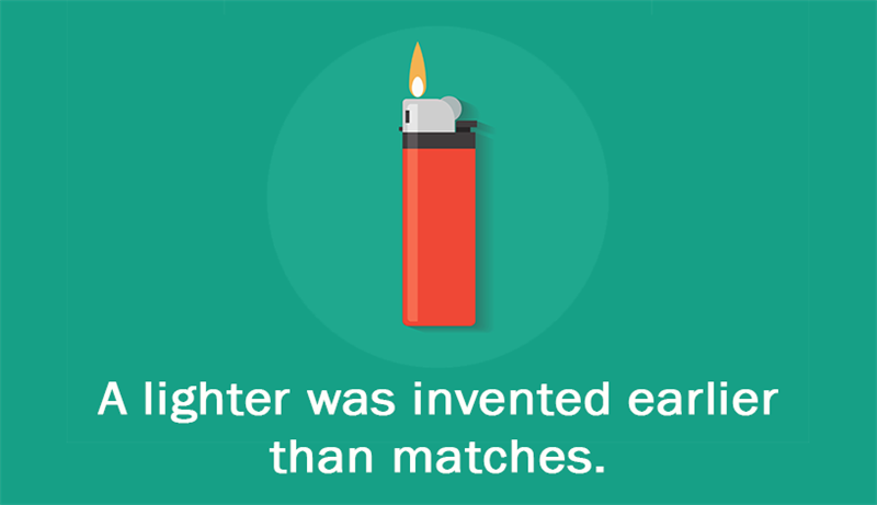 Culture Story: A lighter was invented earlier than matches.