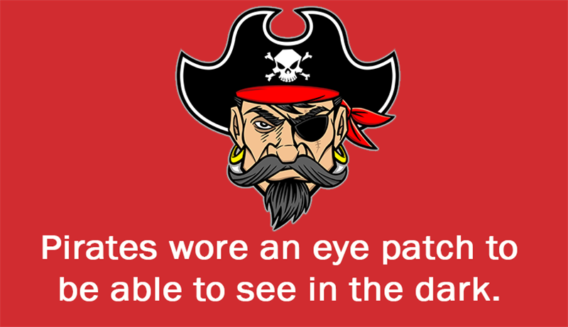 Culture Story: Pirates wore an eye patch to be able to see in the dark.