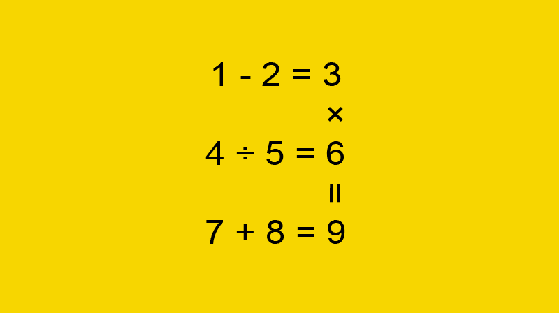 """IQ Story: #6 There are 3 """"horizontal"""" and 1 """"vertical"""" equations in the picture. Will you be able to change places of the figures so that all 4 equations are right?"""
