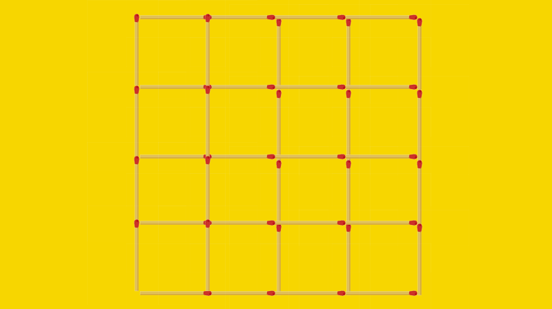 IQ Story: #7 Out of the figure, containing 30 squares, large and small, pull out 9 matches in such a way that no squares are left.