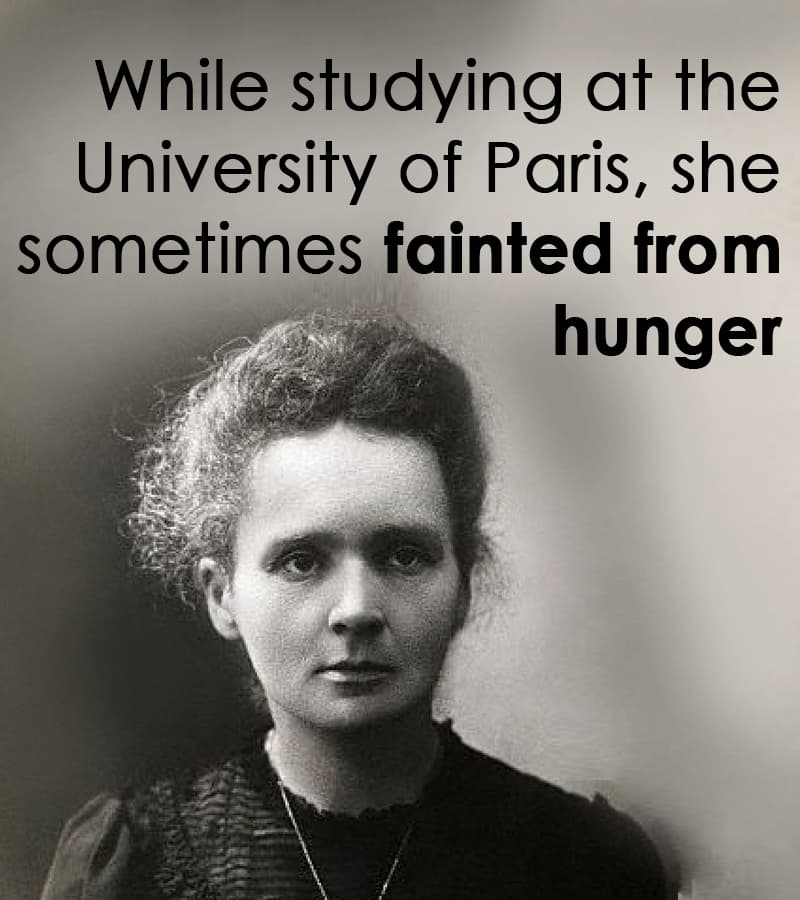 Science Story: While studying at the University of Paris, she sometimes fainted from hunger