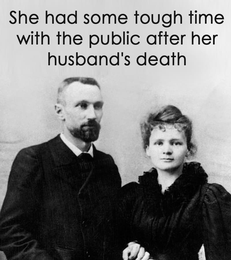 Science Story: She had some tough time with the public after her husband's death