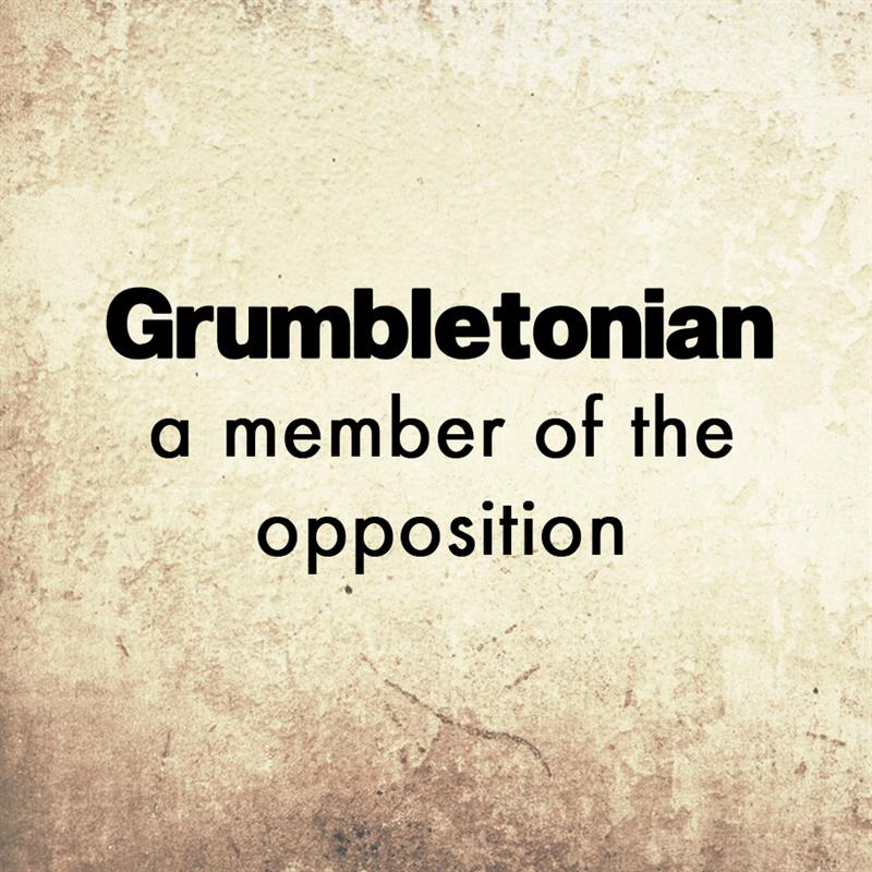 Culture Story: Grumbletonian - a member of the opposition