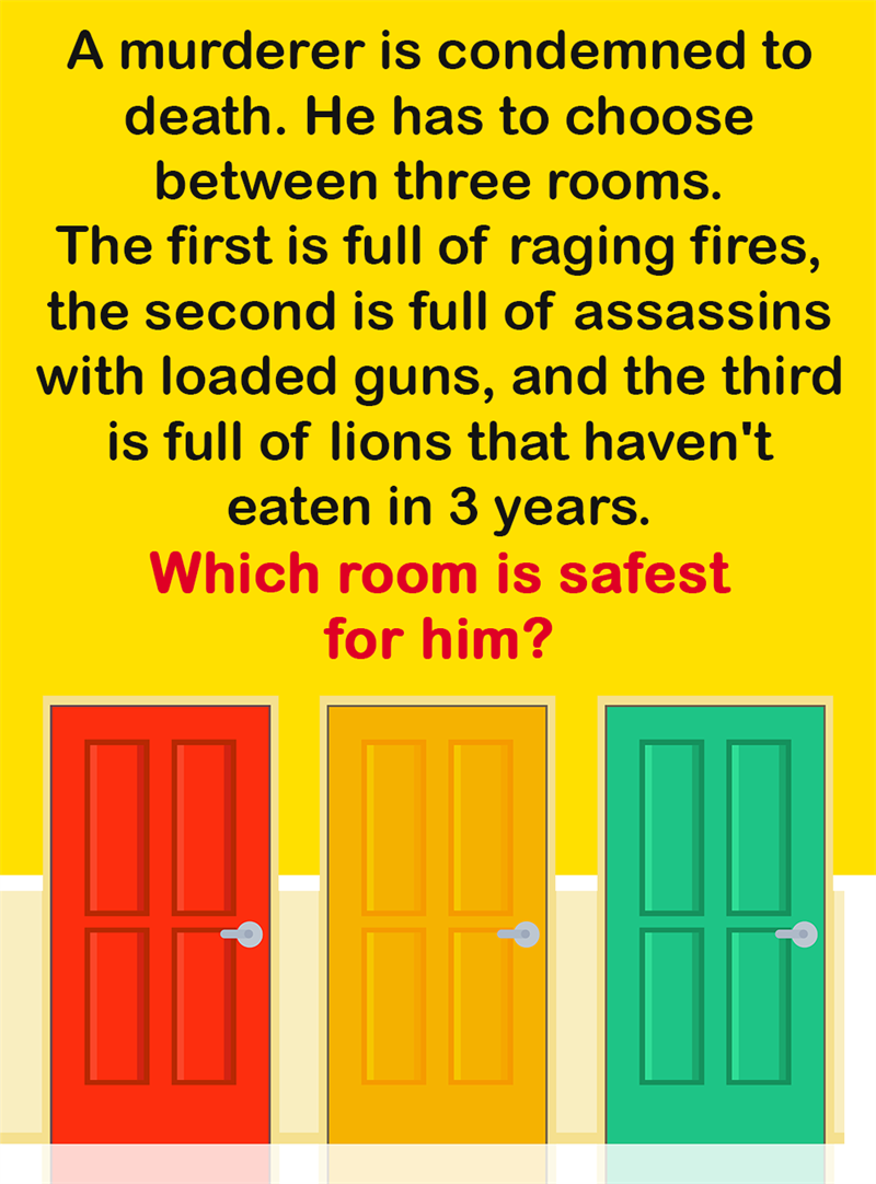 Science Story: A murderer is condemned to death. He has to choose between three rooms. The first is full of raging fires, the second is full of assassins with loaded guns, and the third is full of lions that haven't eaten in 3 years. Which room is safest for him?