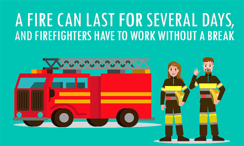 Society Story: Some fires can last for several days, and firefighters have to work without a break