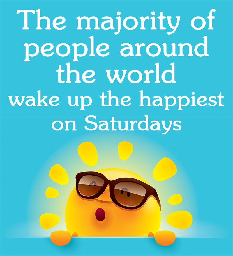 Society Story: The majority of people around the world wake up the happiest on Saturdays