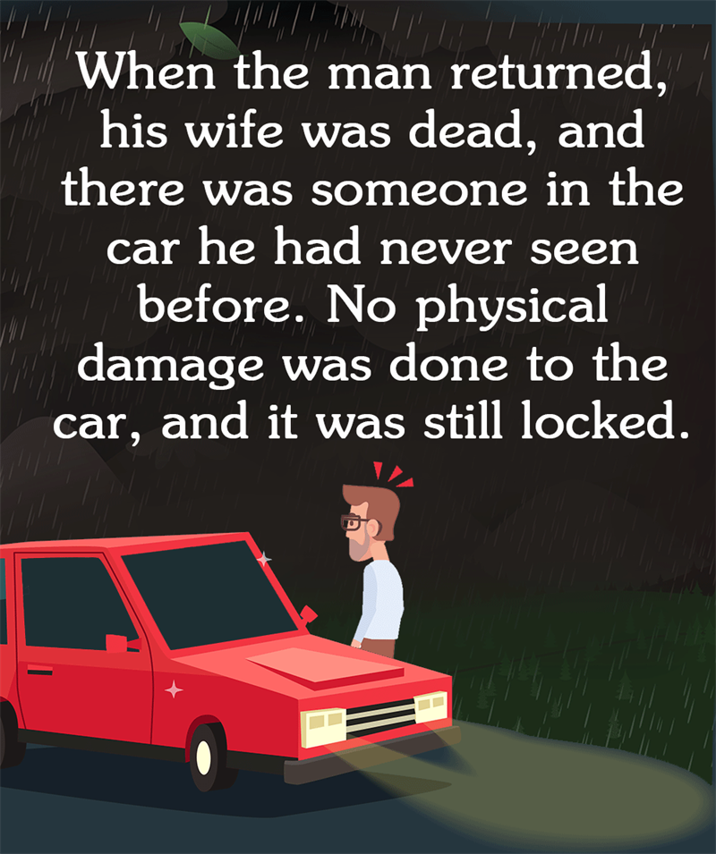 IQ Story: When the man returned, his wife was dead, and there was someone in the car he had never seen before. No physical damage was done to the car, and it was still locked.