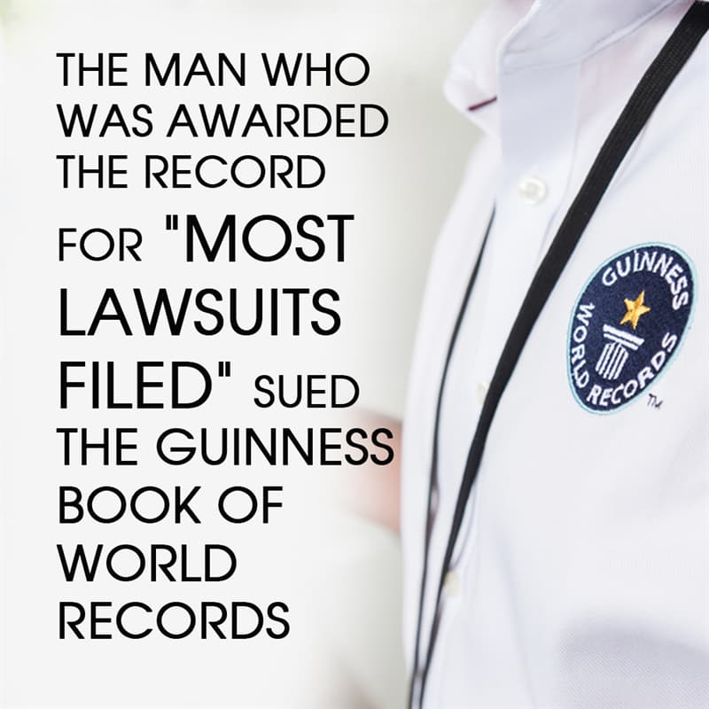 """History Story: The man who was awarded the record for """"most lawsuits filed"""" sued the Guinness Book of World Records"""