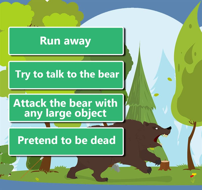 Society Story: 1. Run away 2. Try to talk to the bear 3. Attack the bear with any large object 4. Pretend to be dead