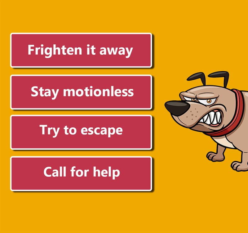 Society Story: 1. Frighten it away 2. Stay motionless 3. Try to escape 4. Call for help