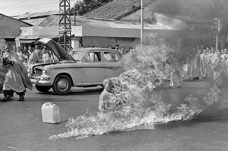 History Story: #5 Thích Quảng Đức burns himself to death protesting the persecution of Buddhists by the South Vietnamese government, 1963