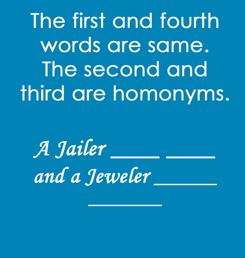IQ Story: The first and fourth words are same. The second and third are homonyms.  A Jailer ____ ____ and a Jeweler ______ _______