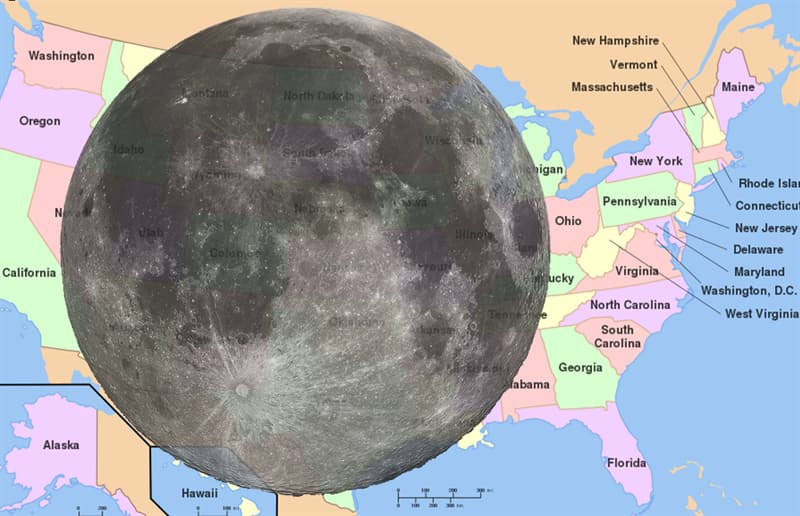 Geography Story: #13 The Moon as compared to the USA: