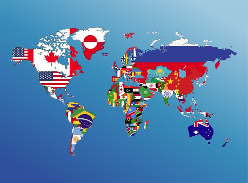 Geography Story: #2 World flags on a map: