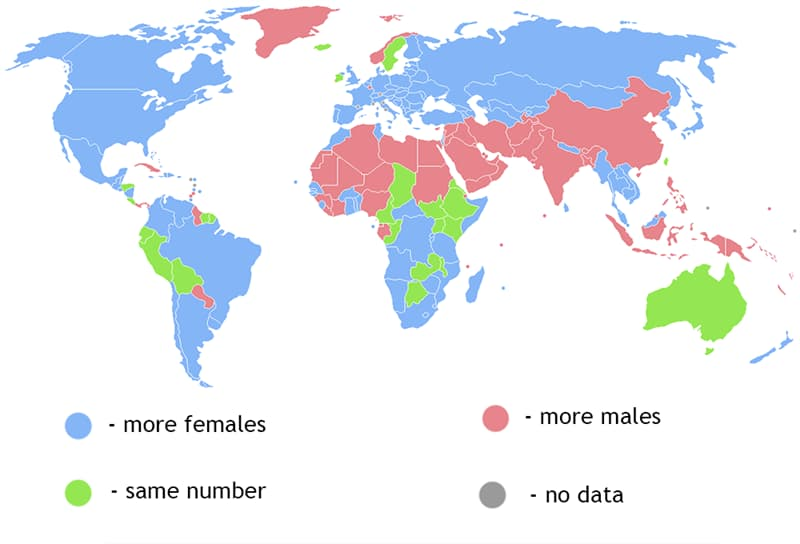 Geography Story: #6 The human sex ratio by country: