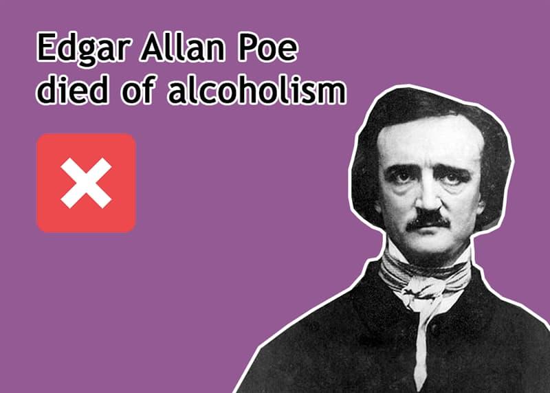 History Story: Edgar Allan Poe died of alcoholism - FALSE