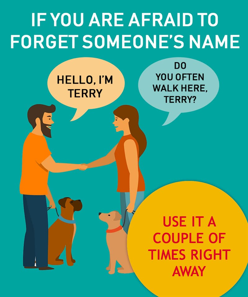 Society Story: To remember someone's name, use it a couple of times right away
