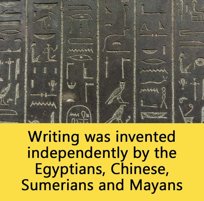 Science Story: Writing was invented independently by the Egyptians, Chinese, Sumerians and Mayans.
