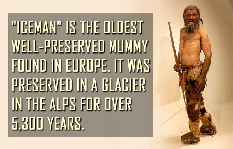 """Science Story: """"Iceman"""" is the oldest well-preserved mummy found in Europe. It was preserved in a glacier in the Alps for over 5,300 years."""