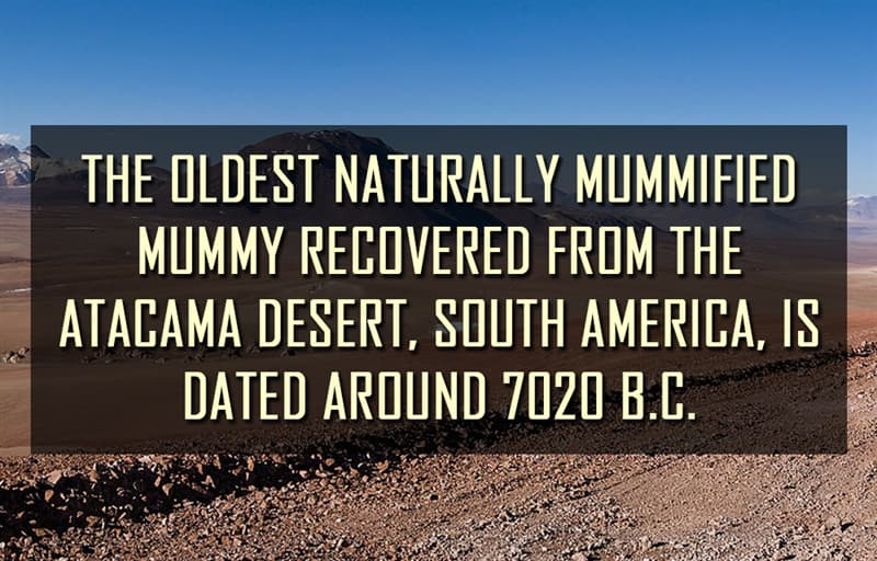 Science Story: The oldest naturally mummified mummy recovered from the Atacama Desert, South America, is dated around 7020 B.C.