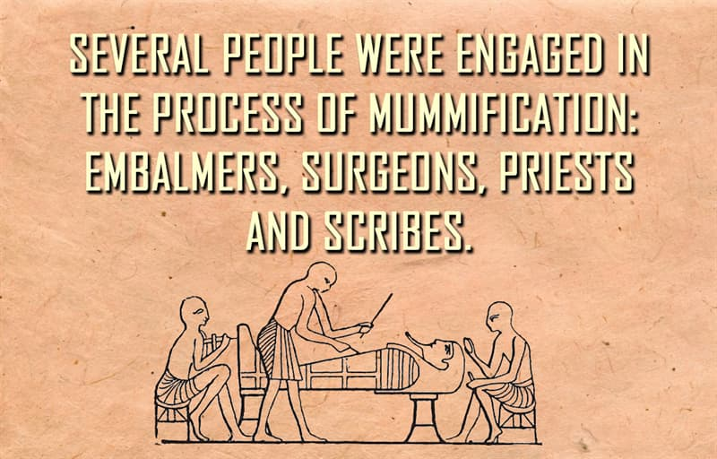 Science Story: Several people were engaged in the process of mummification: embalmers, surgeons, priests and scribes.