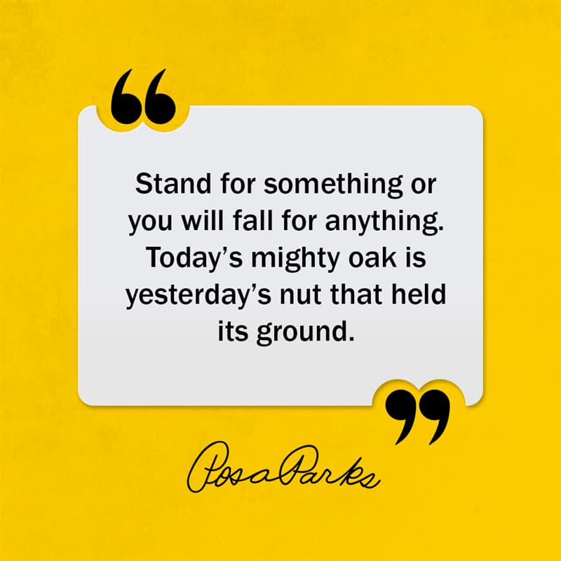 Society Story: Stand for something or you will fall for anything. Today's mighty oak is yesterday's nut that held its ground.