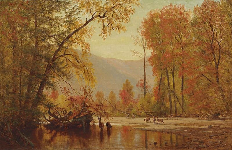 """art Story: Calm and cozy """"Autumn on the Delaware"""" by Thomas Worthington Whittredge"""