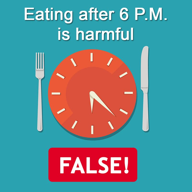 Science Story: Eating after 6 P.M. is harmful - FALSE