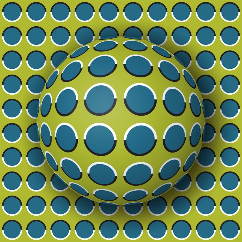 Science Story: Optical illusion with moving background and 3d ball