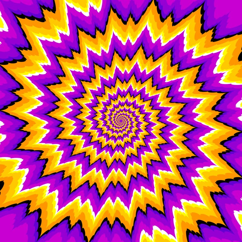 Science Story: Optical expansion illusion with purple and yellow spiral