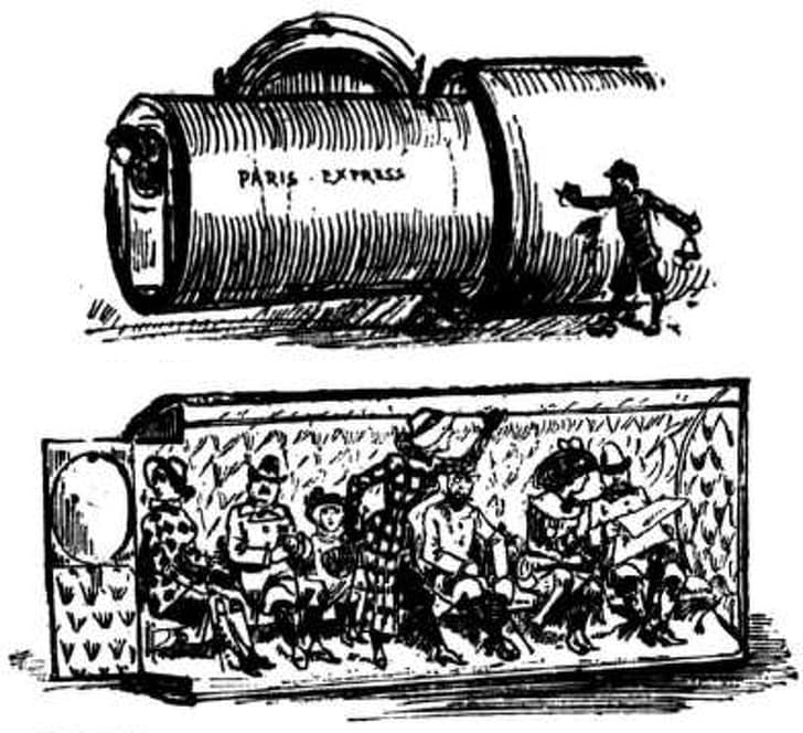 """History Story: #2 The concept of a pneumatic tube train from Albert Robida's """"The Twentieth Century"""", 1882"""