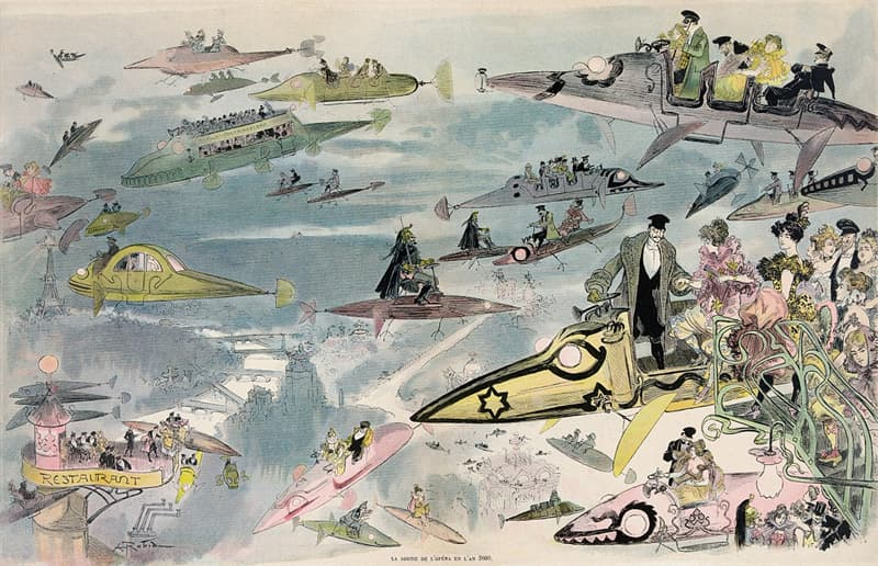 History Story: #5 A futuristic view of air travel over Paris in 2000 (c. 1902)