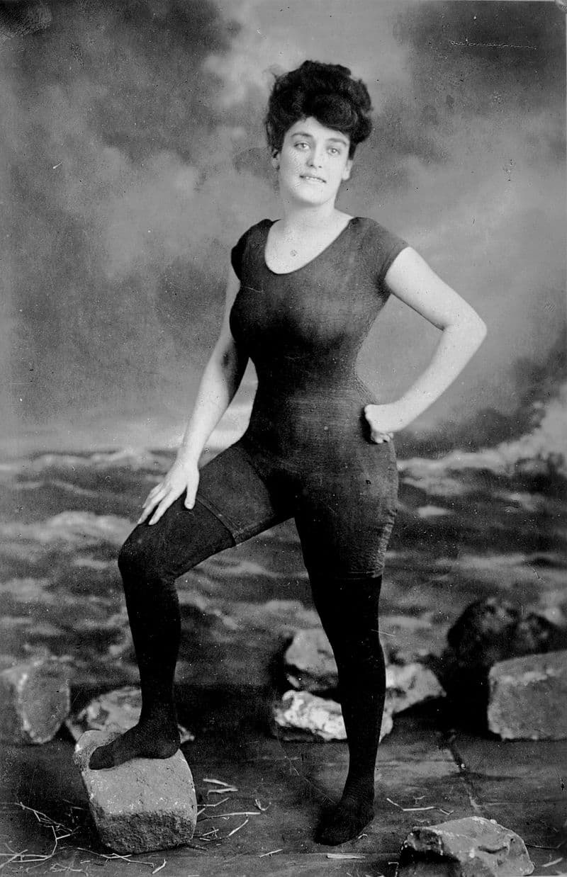 Society Story: #4 Annette Kellerman - after this photoshoot in a swimsuit was arrested for indecency