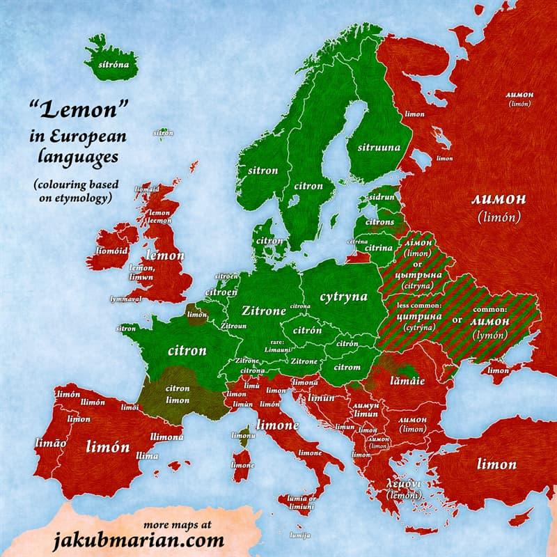 "Geography Story: #11 ""Lemon"" in European languages"
