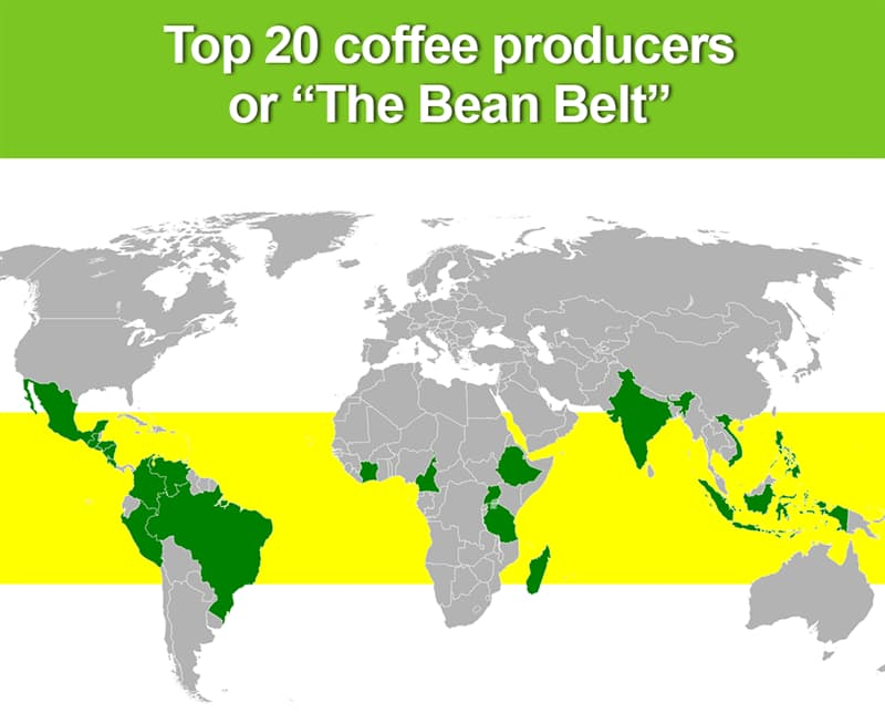 Geography Story: Top 20 coffee producers (Bean Belt)