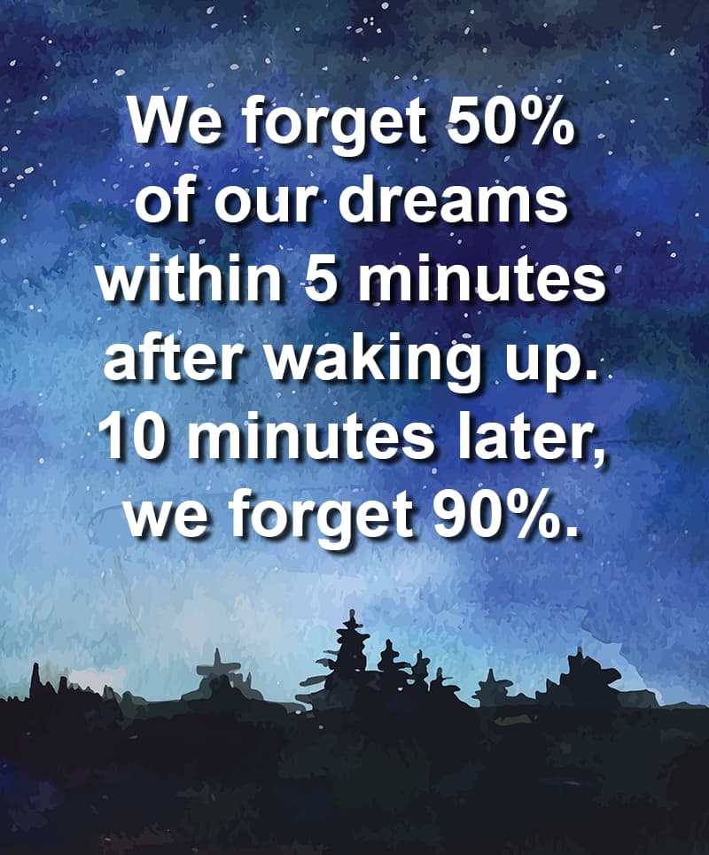 Science Story: We forget 50% of our dreams within 5 minutes after waking up. 10 minutes later, we forget 90%.
