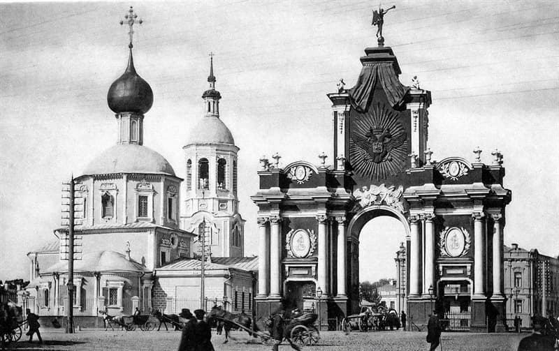 Geography Story: #6 Red Gate and Church of the Three Holy Hierarchs, Moscow, Russia, early 1900s