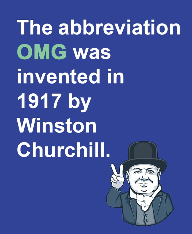 Science Story: The abbreviation OMG was invented in 1917 by Winston Churchill.