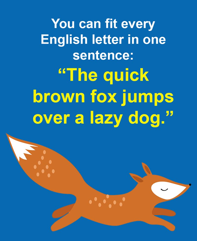 """Science Story: You can fit every English letter in one sentence: """"The quick brown fox jumps over a lazy dog."""""""