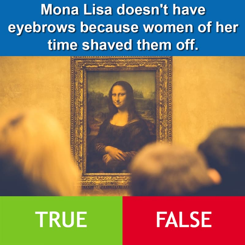 Culture Story: Mona Lisa doesn't have eyebrows because women of her time shaved them off.
