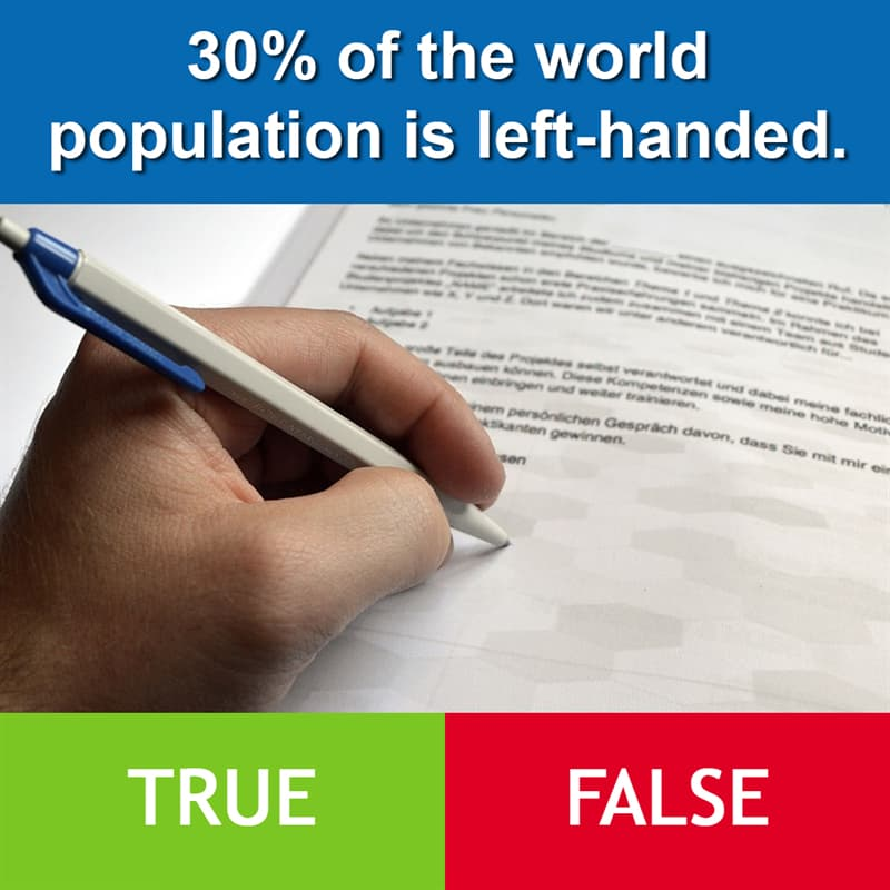 Culture Story: 30% of the world population is left-handed.