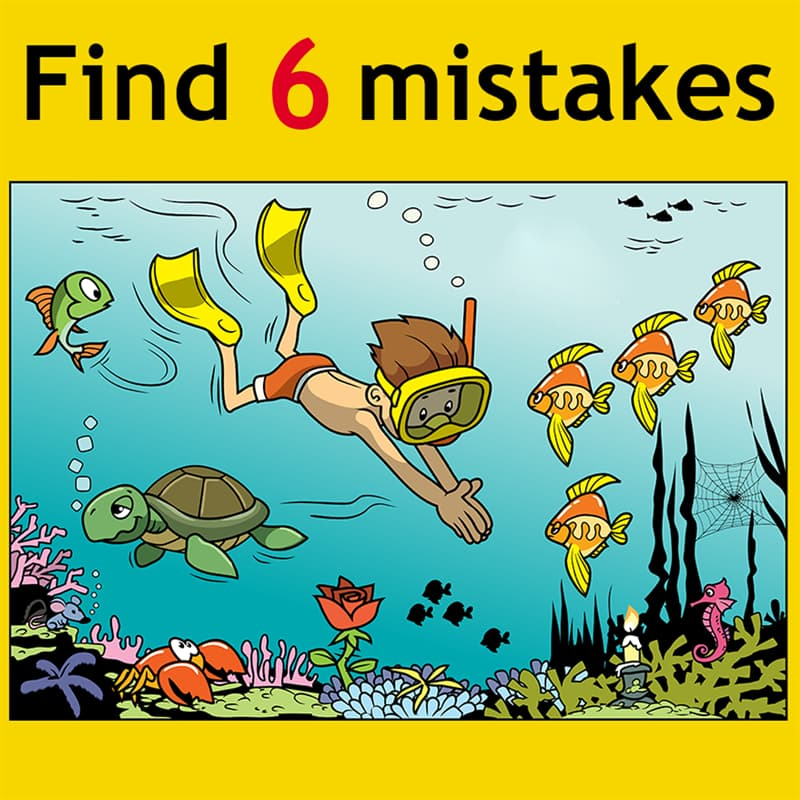 IQ Story: Find 6 mistakes.