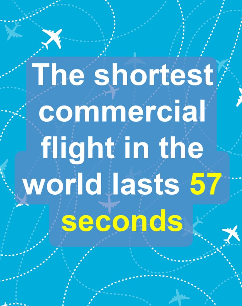 Geography Story: The shortest commercial flight in the world lasts 57 seconds