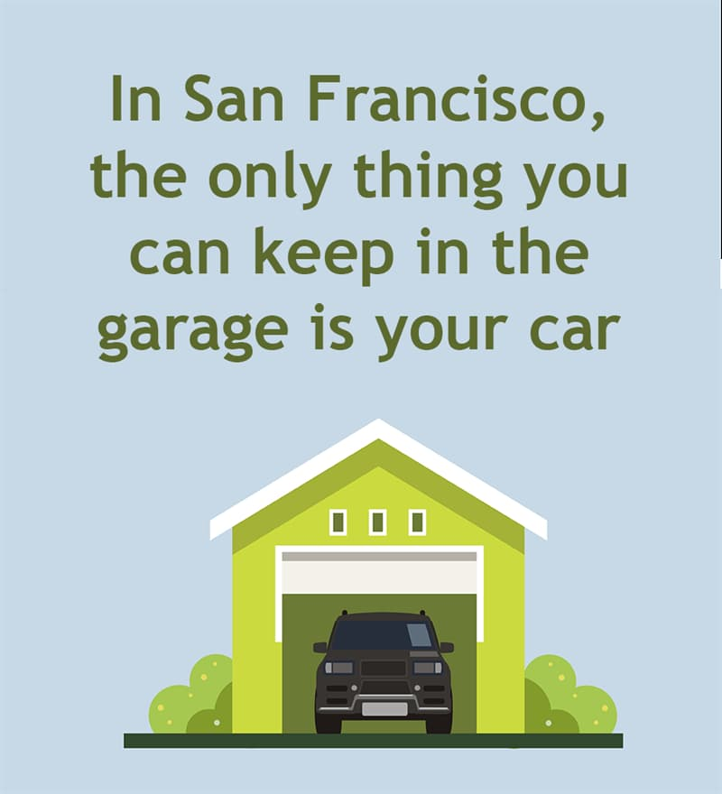 Society Story: In San Francisco, the only thing you can keep in your garage is your car