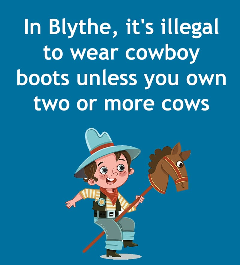Society Story: In Blythe, it's illegal to wear cowboy boots unless you own two or more cows