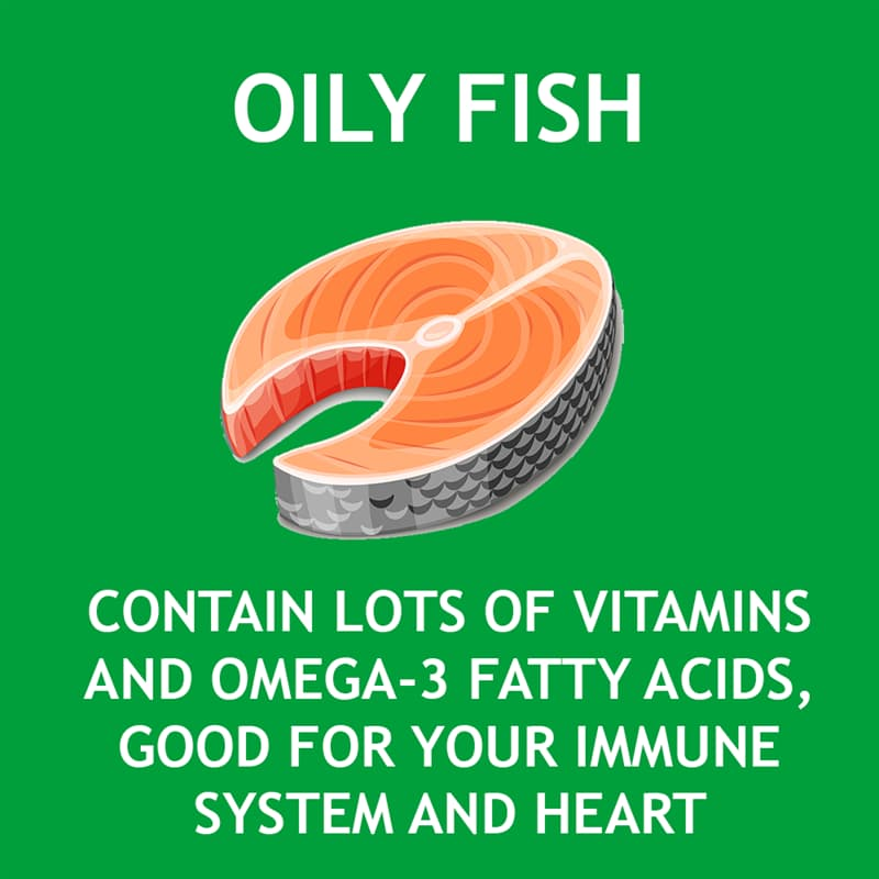 Science Story: Oily fish are rich and vitamins and omega-3 fatty acids which is good for your immune system and heart