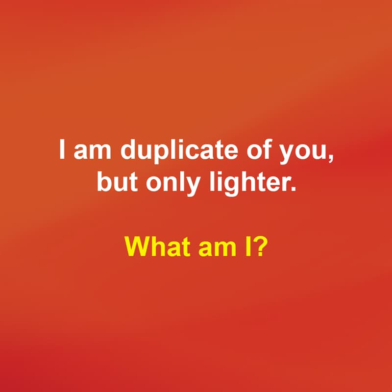 IQ Story: I am duplicate of you, but only lighter. What am I?