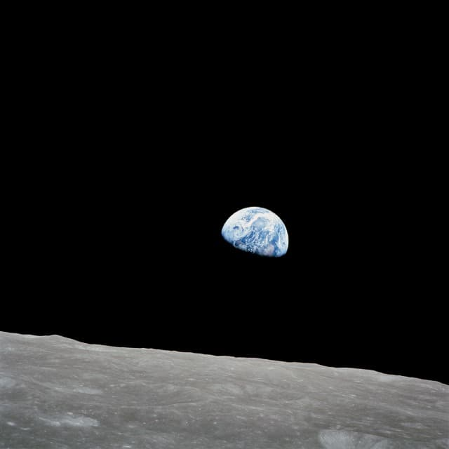 Science Story: #1 The Earthrise from the Moon, taken on Christmas evening of 24th December 1968